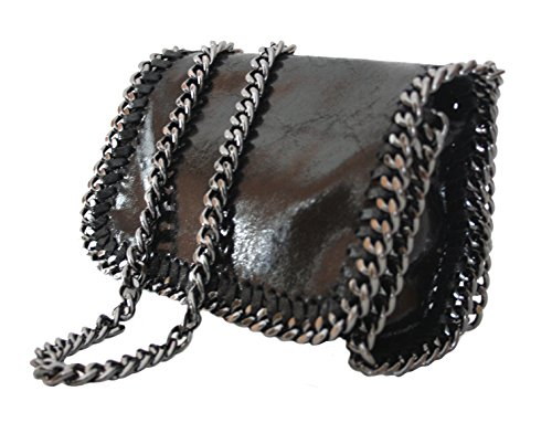 Sa-Lucca Schultertasche Abendtasche Clutch Evening-Bag Handtasche Ketten echt Leder schwarz-ITALY