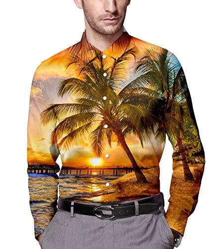 - Men's Button Down Dress Shirt Tropical Sunset Printed Slim Fit Long Sleeve Shirts XXL