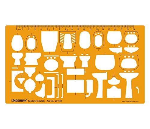 Architectural Sanitary Template Plumbing Fixtures Architect Drafting Templates Stencil by LINOGRAPH