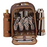 BBBuy Picnic Backpack for 4 Person with Cooler Compartment, Detachable Bottle/Wine Holder, Fleece Blanket, Flatware and Plates