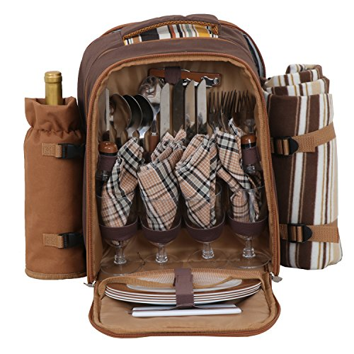 BBBuy Picnic Backpack for 4 Person with Cooler Compartment, Detachable Bottle/Wine Holder, Fleece Blanket, Flatware and Plates by BBBuy