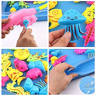 Yunhigh 14pcs Bath Toys for Kids Fishing Magnetic Toys Floating Fishing Game Inflatable Swimming Pool Bathtub Toy Set Learning Education Toy Playset : Baby