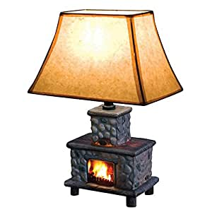 Hand Painted Ceramic Fireplace Table Lamp Rustic Lamps