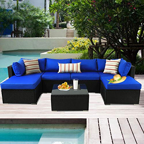 Patio Furniture Black Rattan Sofa Wicker Sectional Couch Set Outside Conversation Garden Furniture Royal Blue Cushion 7pcs (Cushions Furniture For Discount Patio)
