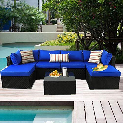 Patio Furniture Black Rattan Sofa Wicker Sectional Couch Set Outside Conversation Garden Furniture Royal Blue Cushion 7pcs (Furniture Rattan Sofa Garden Sets)