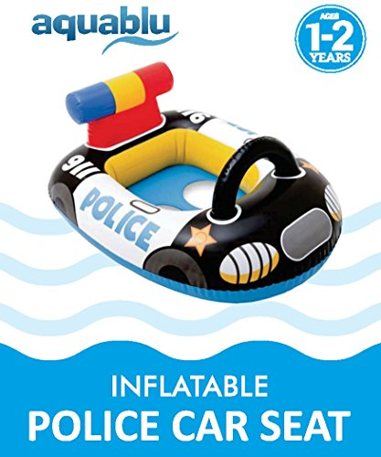 aquablu Inflatable Police Car Cool Summertime Swim Seat & Float Toy for Pool Beach Lake Bay & More Exciting Cruiser Steering Wheel & Solid Bottom for Toddlers Ages 1-2 Years