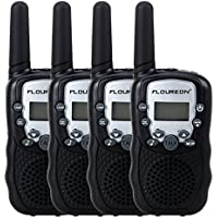 Floureon T-388 Twin Walkie Talkies 22 Channel UHF400-470MHZ 2-Way Radio 3 Km Range (Black, 4 Packs)
