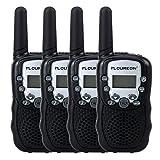 Floureon 22 Channel FRS/GMRS 2 Way Radio 2 Miles (Up to 3 Miles) UHF Handheld Walkie Talkie (Pack of 4, Black White)