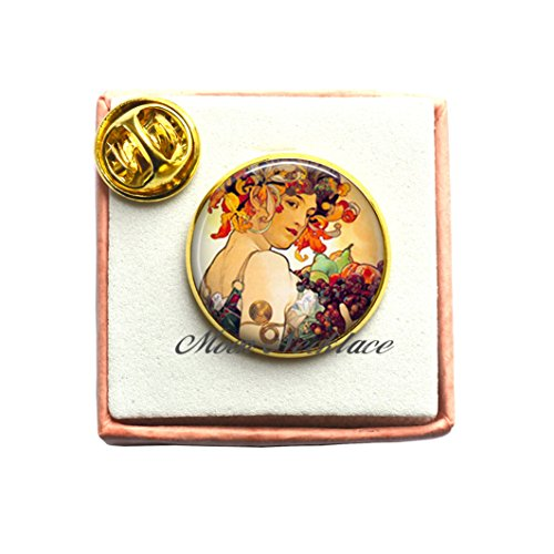 CrescentMoonNecklace Charm Brooch,Autumn Harvest art Pin charm, Art jewelry, Art Pin, Autumn Pin, photo Pin Jewelry-ZE027 (B)