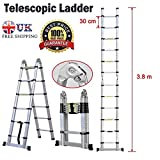 2018 NEW Design DIY Multi-Purpose Aluminium Telescopic Ladder Portable Foldable Ladder Extension Extend Ladder (3.8M(A-Frame))