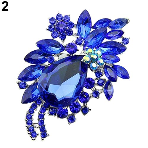 Move on Women Teardrop Flower Rhinestone Brooch Pin Broach Banquet Badge Breastpin for Dress Scarf Sapphire Blue