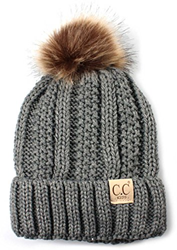 H-1820kids-51 Fuzzy Lined Pom Hat - Heather Grey