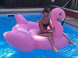 Beach Toy ® - Flotador gigante para piscina de FLAMENCO ROSA, 2-3 personas, colchoneta inflable para piscina, entrega ultra rapida