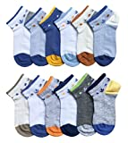 CHUNG Little Big Boys Summer Thin Mesh Combed Cotton Low Cut Socks No Show 12 Pack, 3-5Y