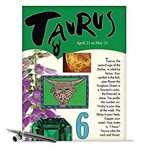 J9443 Taurus Astrological Sign Birthday Card - Famous People, Moto, Personality, Stone, Symbol, Planet, Color, Flowers and Dates (Extra Large 8.5'' x 11'' w/ Envelope)