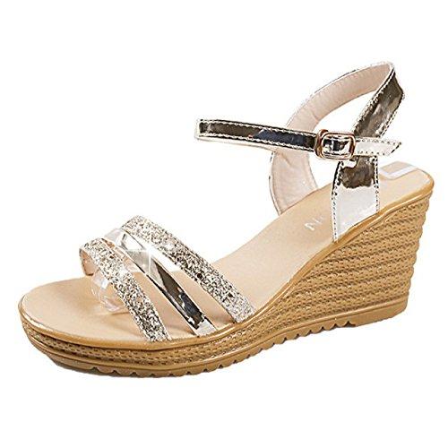 Gold De De pour Peep Bal Robe Femmes D'été Sandales Mariage Slingback Soirée Toe Fashion Chaussure Compensées De pEqnzPa