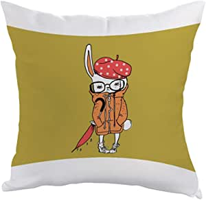 Cartoon Drawing - Rabbit Printed Pillow, Polyester Fabric 40 X 40 cm By Decalac, White