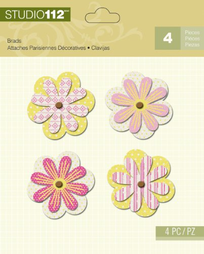K&Company Studio 112 Brads for Scrapbooking, Pink and Green Flower Shaped