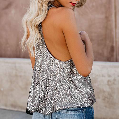 Loose Womens con Gilet Vecdy shirt Casual Canotte Estate Casual Moda paillettes Camicetta Camicia Argento Sexy T Sleeveless HIwqwpX5