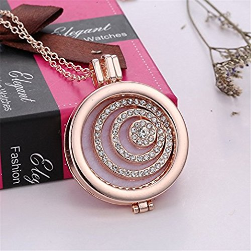 Adecco LLC Crystal Infinity Love Aromatherapy Essential Oil Diffuser Necklace Rose Gold Hollow Locket Pendant Jewelry for Bride,3 Felt Pads (Love (Circle Oil Diffuser)
