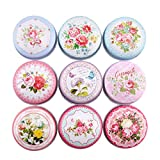 Fitlyiee 9 PCS Retro Metal DIY Candle Tin Jars Mini Round Candle Tins for Spices DIY Projects Dry Storage Candy (Random Color)
