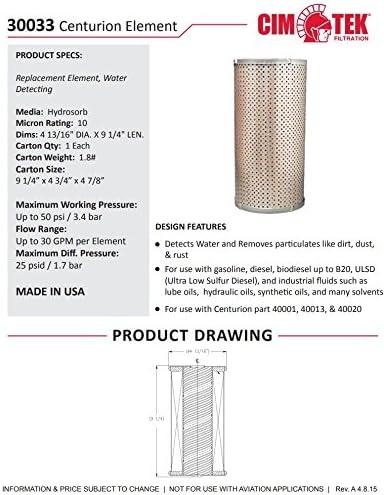 Cim-Tek 30033 10 /μm Hydrosorb Element for The Cim-Tek Centurion Filter Housing