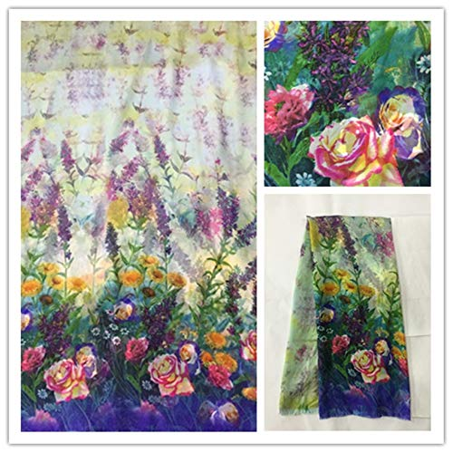(140cm Thin 100% Pure Natural Silk Chiffon Digital Printed Blue Sewing Fabric Cloth Material Textile Sew Women Girl Dress Scarf Ds29)