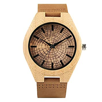 Trendy Stylish Hand-Made Quartz Wooden Watches For Men Women Wood Grain Genuine Leather Wristband
