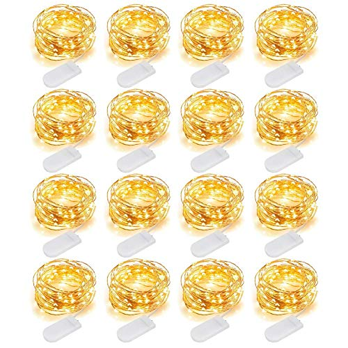 MJMIX 16 Pack Fairy Lights Battery Operated (Included) 10ft 30 LED Mini String Lights Waterproof Copper Wire Firefly Starry Lights for DIY Wedding Party Jars Christmas Decorations, Warm White ()