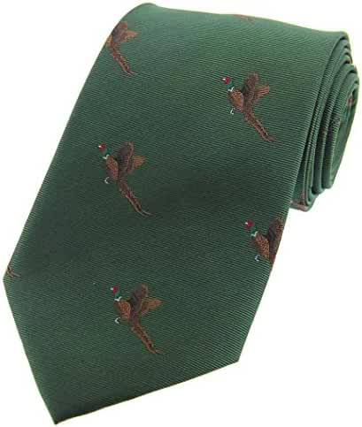 Forest Green Flying Pheasants Woven Country Silk Tie by David Van Hagen