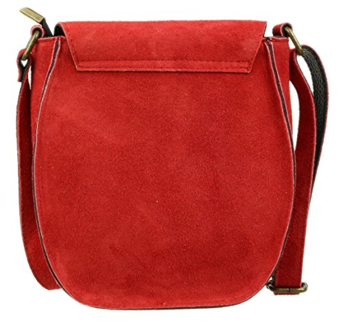 Suede HandBags HandBags Suede Flap Genuine Red Flap Genuine Oval Shoulder Bag Girly Oval Girly wtqvYvxBE