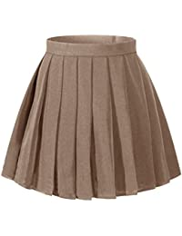 Women`s School Uniform High Waist Flat Pleated Skirts...