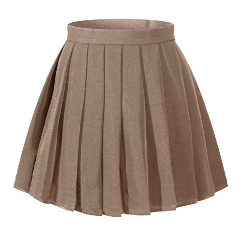 Women`s School Uniform High Waist Flat Pleated Skirts (4XL ,Dark Brown) (Brown Pleated Skirt)