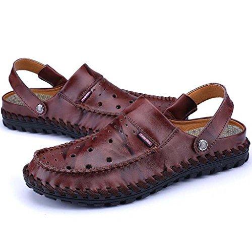 ZXCV Zapatos al aire libre Sandalias transpirables cómodas de moda de los zapatos ocasionales de los hombres Vino rojo