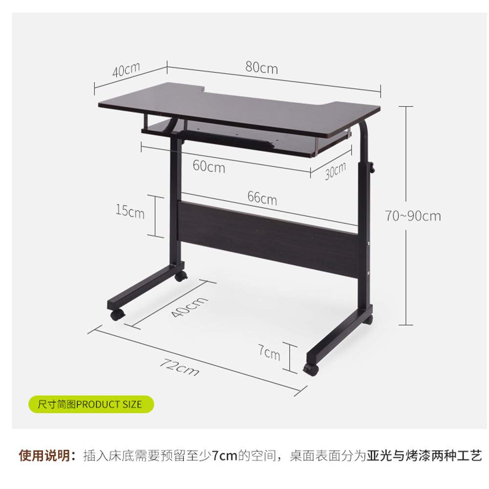 Home Office Desk Adjustable Raised and Lowered Mobile Computer Lazy Laptop Desk Sofa Side Stable Computer Table (Black)
