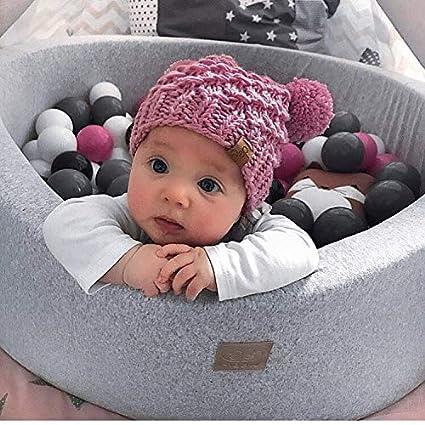MeowBaby 90X40cm//Ohne B/älle /∅ 7Cm B/ällebad Baby Spielbad Mit B/ällen Rund Kugelbad B/ällchenbad B/ällchenpool Made In EU Hellgrau