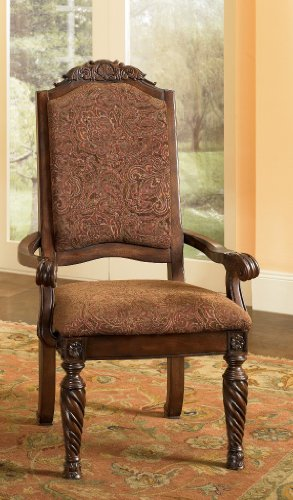 Signature Design by Ashley North Shore Dark Brown Upholstered Dining Arm Chair (Set of 2)
