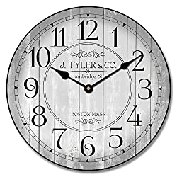 The Big Clock Store Harbor Gray Wall Clock, Available in 8 sizes, Most Sizes Ship 2-3 days, Whisper Quiet.