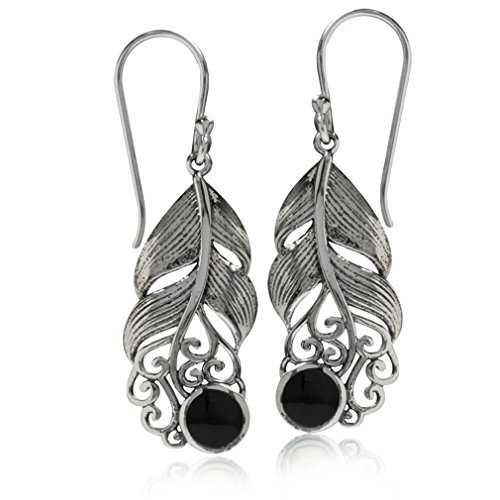 Victorian Onyx (Created Black Onyx 925 Sterling Silver Feather Victorian Style Dangle)