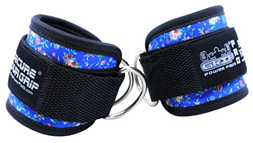 Best Ankle Straps for Cable Machines Double D-Ring Adjustable Neoprene Premium Cuffs to Enhance Legs, Abs & Glutes for Men & Women (Art Flowers (Blue), Pair) by Grip Power Pads