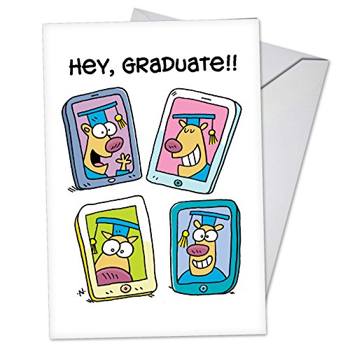 Hey Graduate - Funny Happy Graduation Day Greeting Card with Envelope (4.63 x 6.75) - Cell Phone Selfie Cartoon Note Card for Preschool Kids, Middle, High School, College Graduates C3625GDG