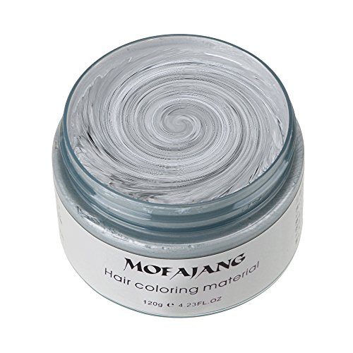 MOFAJANG Hair Color Wax, KooJoee Temporary Hair Dye Easy Wash Hairstyle Cream 4.23 oz Disposable Hair Pomades, Natural Matte Hair Modeling Wax for Party, Cosplay, Masquerades, Halloween (Sliver Grey) ()