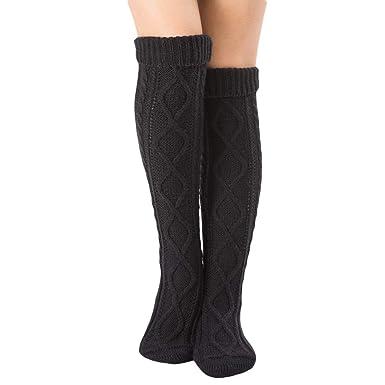 4529097e17c Vertvie Femme Fille Chaussettes Montante au Genou Knit Crochet Tricot Sock  Jambière Bas Guêtre Stretch Vintage