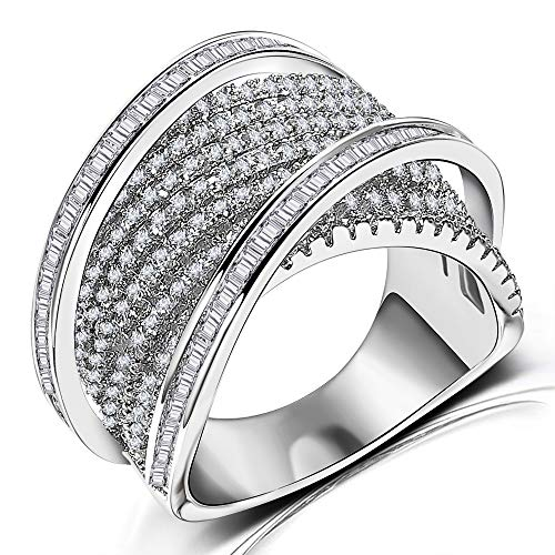 Diamond Accent Women Statement Ring - Intertwined Crossover Cubic Zirconia Engagement Wedding Rings for Women Girls (6)