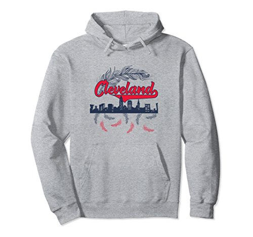 Unisex Retro Cleveland Pullover Hoodie Native American Gift Medium Heather Grey -