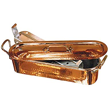 Matfer Bourgeat Fish Poacher And Grid With Lid, Hammered Finish Copper 032051