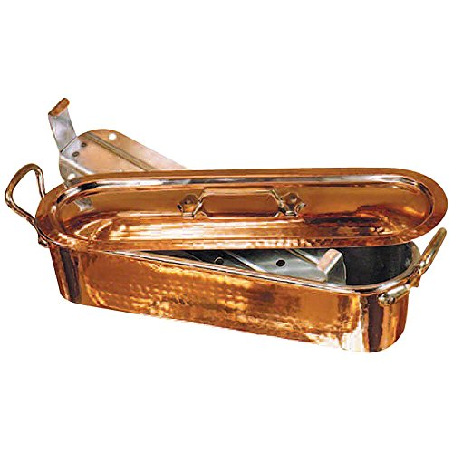 Mauviel 032051 Copper Fish Poacher and Grid with Lid, Hammered Finish, 19-5/8-Inch by Mauviel