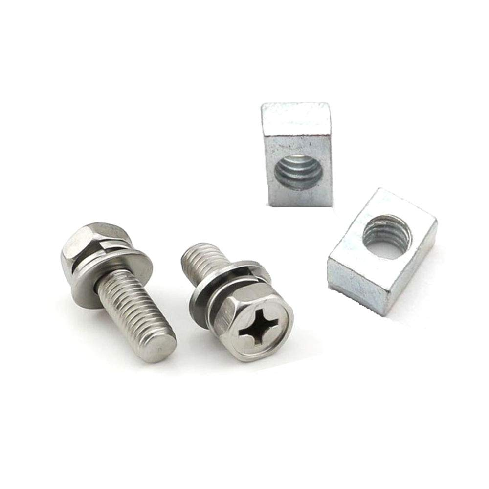Stainless Steel Motorcycle Battery Terminal M6 x14mm Bolt Square Nut Kit Scooter White Zinc Plated YunShuo