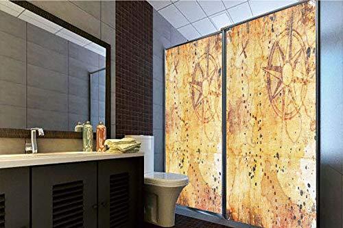 (3D Privacy Window Film No Glue,Island Map,Antique Treasure Map Grunge Rusty Style Parchment Print History Theme Boho Design,Beige,47.24