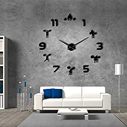 The Geeky Days Weightlifting Fitness Room Wall Decor DIY Giant Wall Clock Mirror Effect Powerlifting Frameless Large Wall Clock GYM Wall Watch (Black)